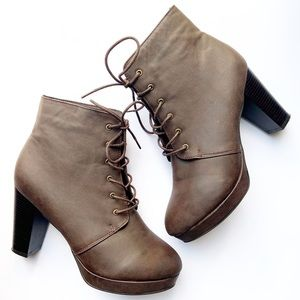 HerStyle Brown Leather Lace Up Block Heel Booties